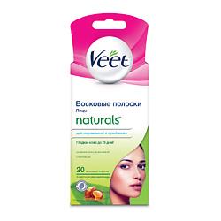 VEET Восковые полоски Naturals с маслом ши для чувствительных участков тела лицо 18 шт.
