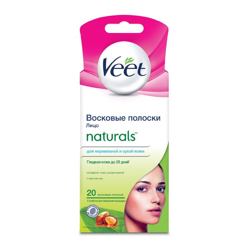 VEET Полоски восковые с маслом ши для чувствительных участков тела (лицо) NATURALS